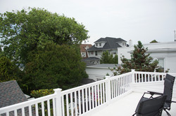 Second story deck overlooking garden
