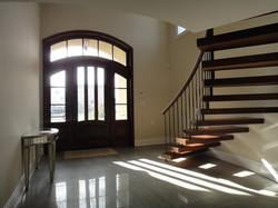 floating staircase, cherry door