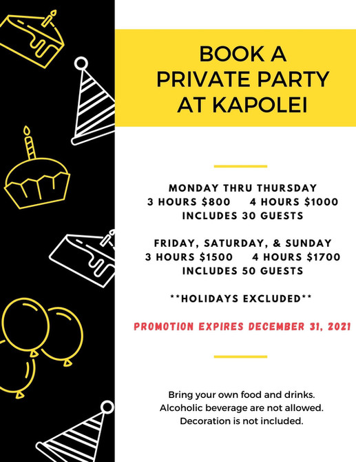 KIDS CITY Kapolei:  Party Package for December 31st