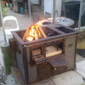 Holzkochherd Rohstahl rostend