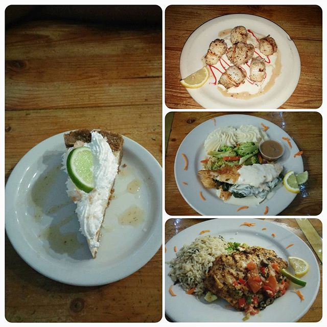 Key Lime Pie, Grilled Scallops, Stuffed Yellowtail and Crusted Snapper