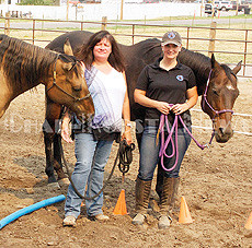 CSKT Voc Rehab Program Manager Shaunda Albert and Equine Specialist Amanda Held team together to offer a three-day horse therapy to CSKT Voc Rehab clients at the Ronan Fairgrounds last week. (Lailani Upham photo)