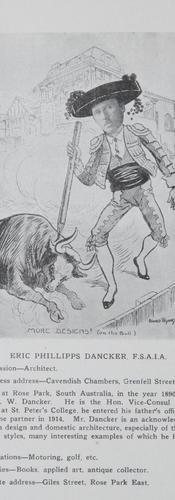 Eric Phillipps Dancker, caricature