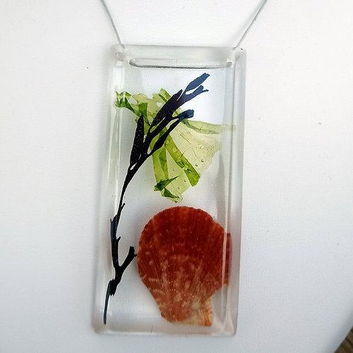 Pendentif algues, coquillage (pétoncle) et résine