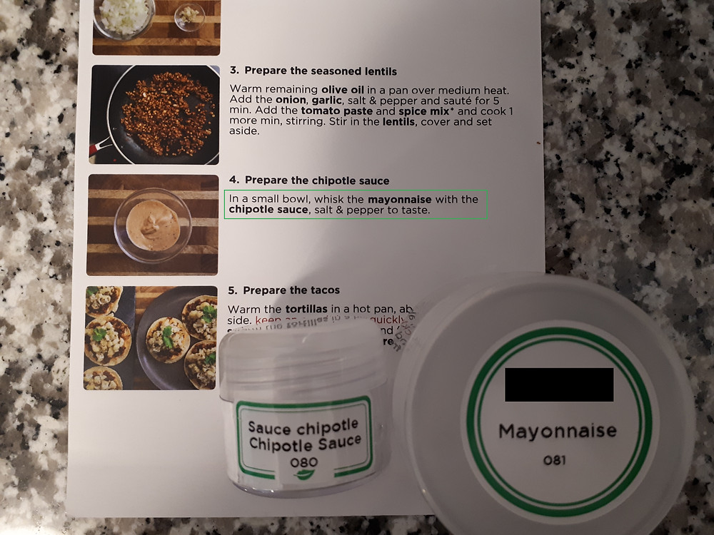 An image of instructions to mix a small bottle of chipotle sauce with a small bottle of mayonnaise.