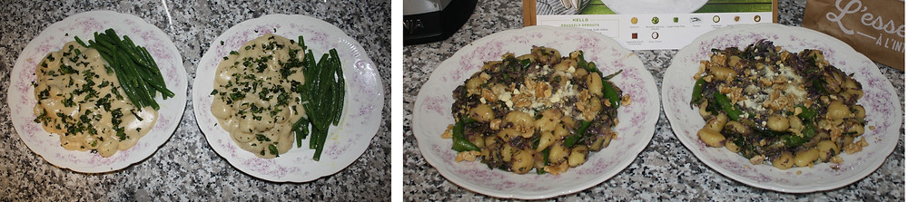 Two different preparations of gnocchi dishes displayed side by side.