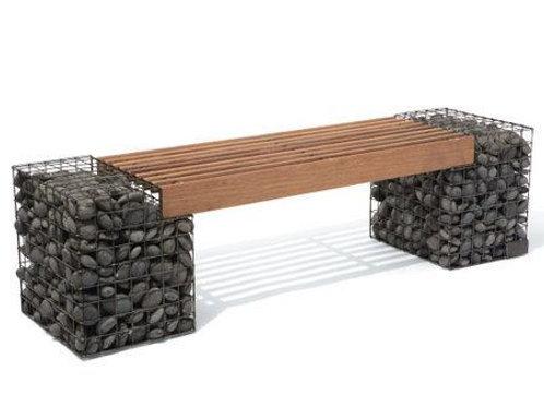 Butaco en madera y piedra gabionada