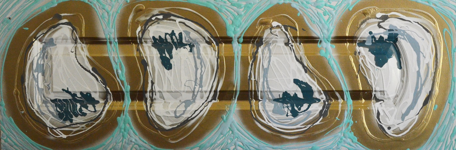 Camille Quintana_Oyster Quad_Acrylic and Spray on Cabinet_2014_15x44.JPG