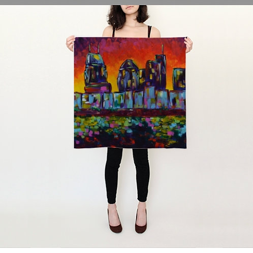 "Sunset Skyline Silk Scarf - 26x26"""