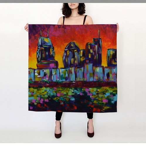 Sunset Skyline Silk Scarf - 36x36""