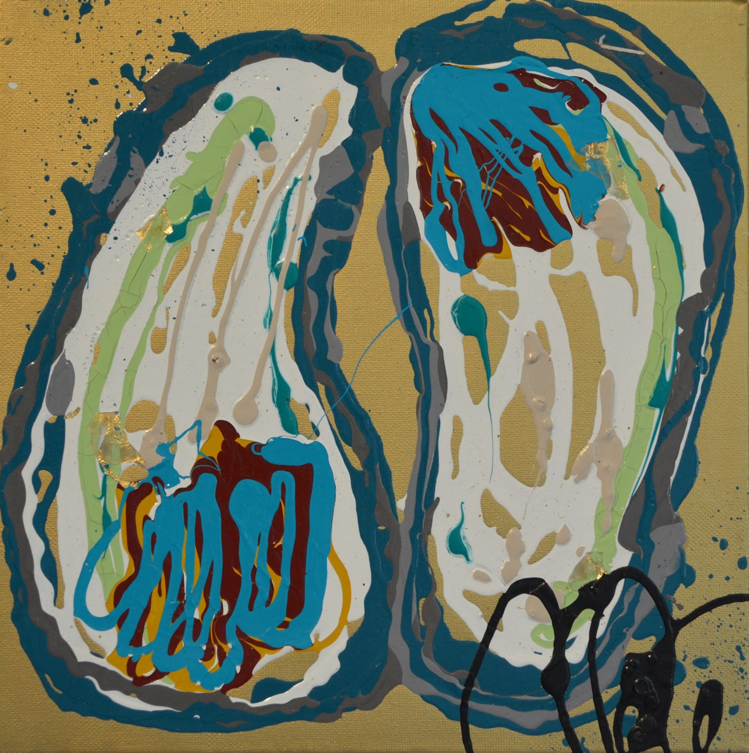 Camille Quintana_Double Oysters (Gold)_Acrylic on Canvas_2014_12x12.JPG