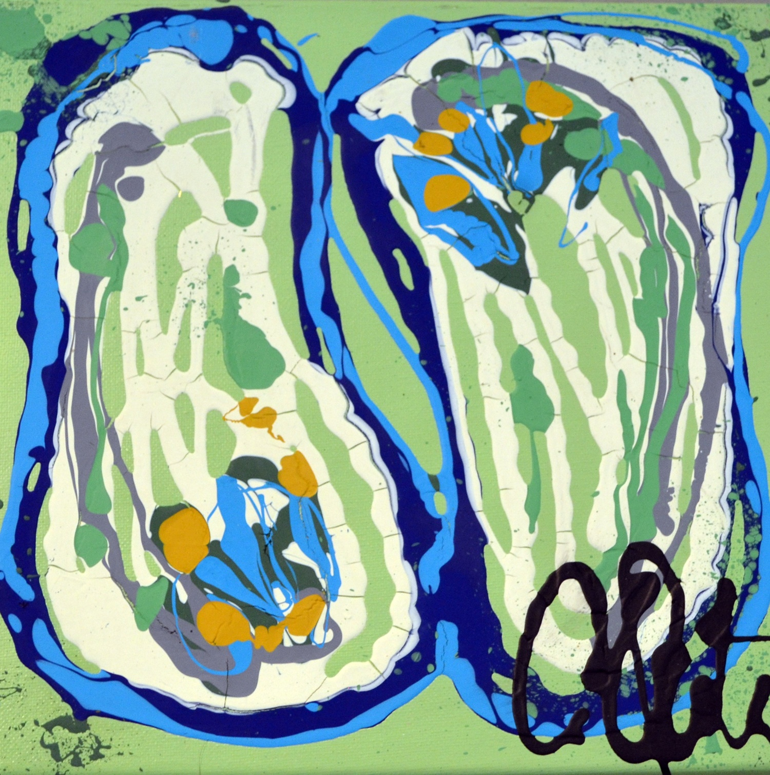 Camille Quintana_Double Oysters (Sage)_Acrylic on Canvas_2014_12x12.JPG