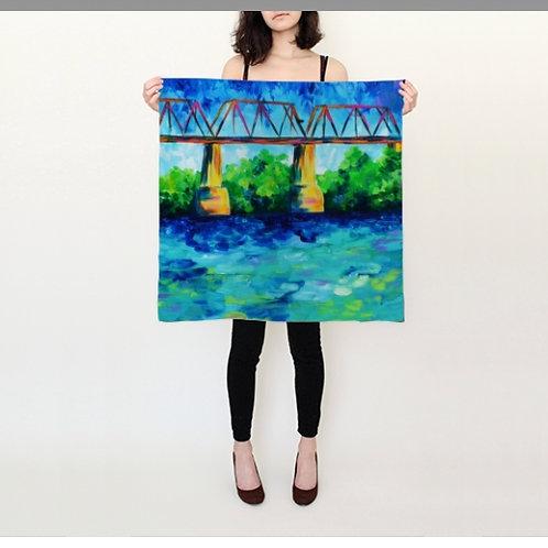 "Bridge Over Cumberland Silk Scarf - 26x26"""