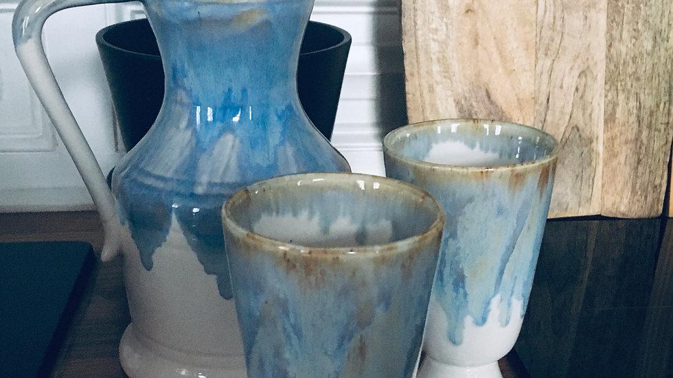 Pichet et mugs grès vernissé années 60