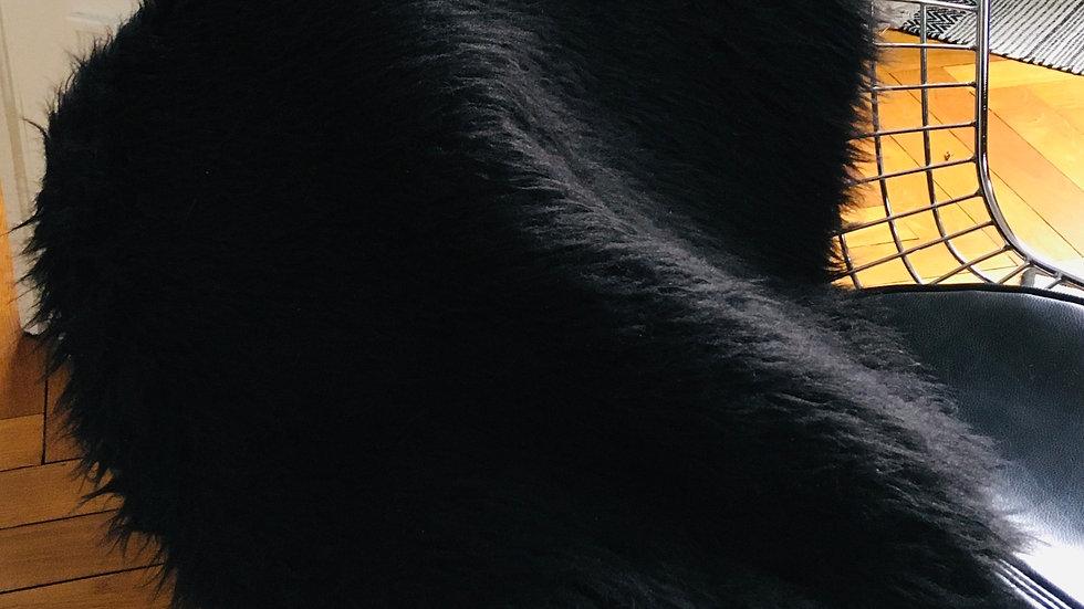 Tapis rond fourrure synthétique noire
