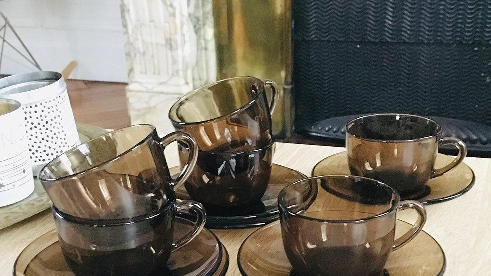 Service café verre ambré VERECO années 70