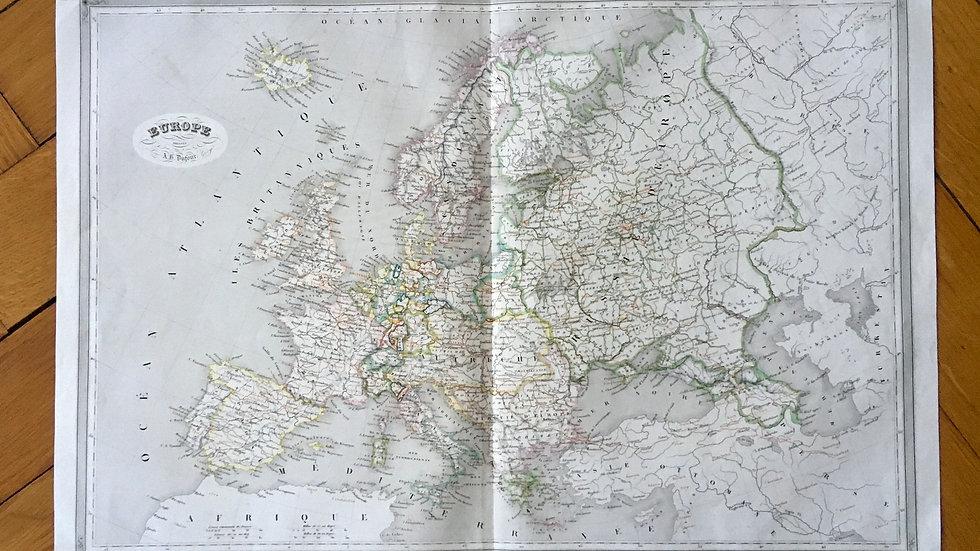 Carte géographique 19ème numérotée Europe