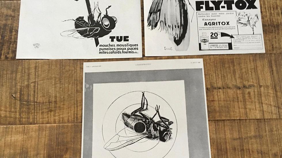 Lot 3 publicités années 30 FLY TOX