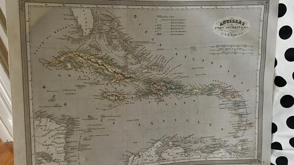 Carte géographique 19ème numérotée Antilles Indes occidentales