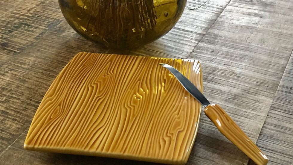 Plateau et couteau faux bois céramique VERCERAM années 60