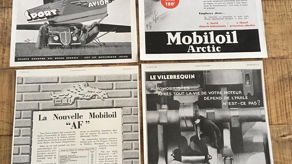 Lot 2 publicités années 30 Huile MOBILOIL RENAULT