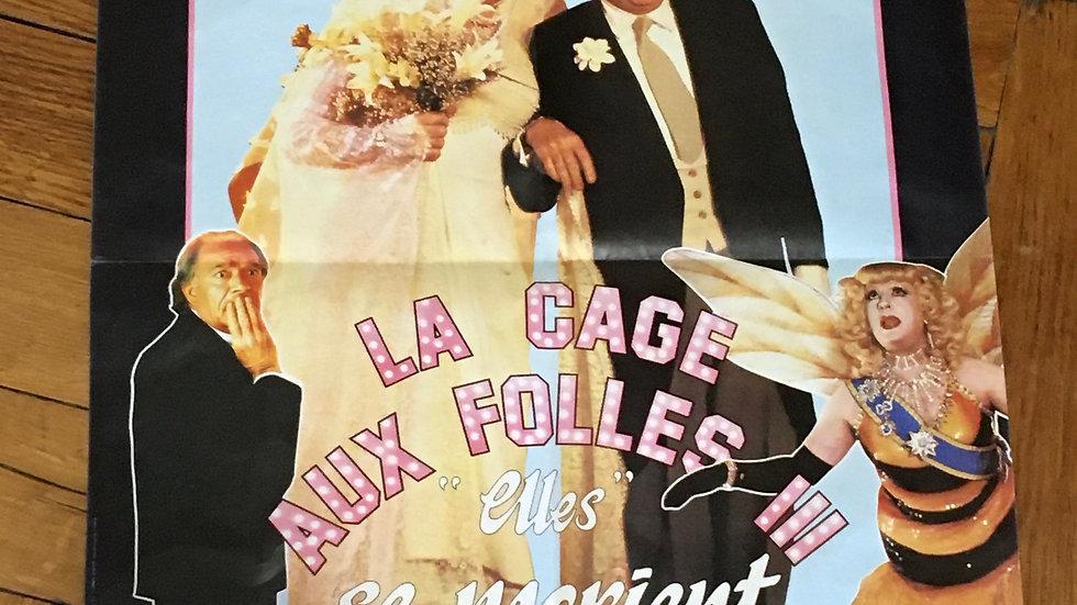 Petite affiche cinéma originale La cage aux folles 3- 1985