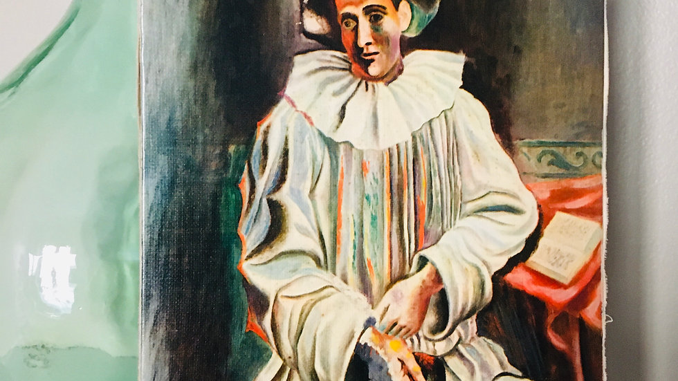 """Repro. ancienne toile Picasso """"Pierrot assis au loup"""""""