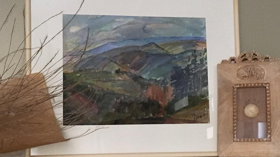 Aquarelle encadrée paysage Chapelle Ste Reine années 80