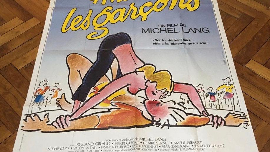 """Grande affiche originale cinéma """"A nous les garçons"""" 1985"""