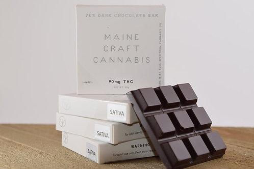 90mg THC 70% Dark Chocolate Bar - Maine Craft Cannabis - strain specific options