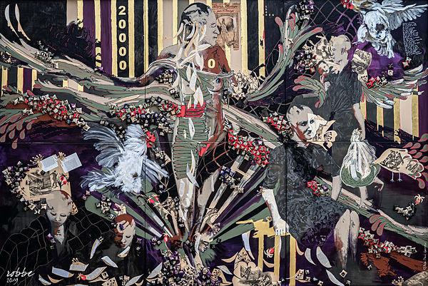 Le Sacre des chauves ©Céline ROBBE, fresque sur toile, technique mixte, 200 cm x 300 cm