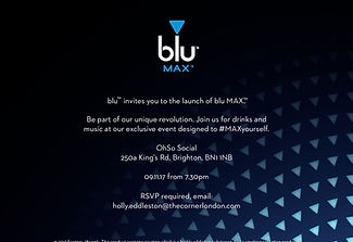 blu MAX #MaxYourself Brighton event press invite