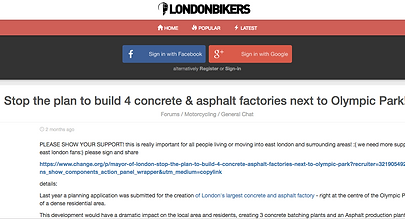 London Bikers sto the plan to build 4 concrete and asphalt factories next to the Olympic Park