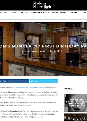 Made in Shoreditch Number 177 Bar and Kitchen First Birthday