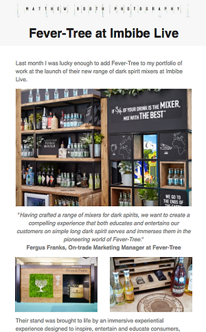 Fever Tree email on belf of client Matthew Booth Photography