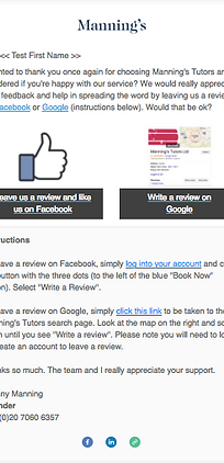 Manning's Tutors example emil to get more reviews on Goole and Facebook