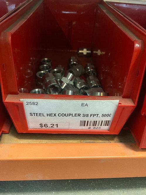 STEEL HEX COUPLER 3/8 FPT, 5000