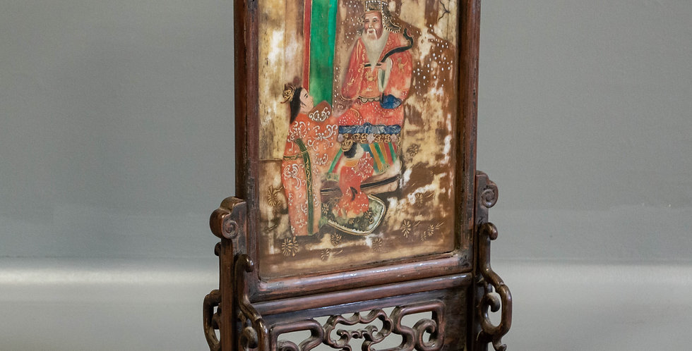 Painted Chinese Stone Panel