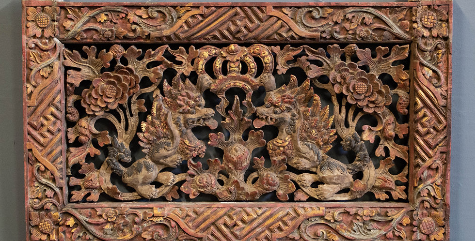Carved and Painted Garuda Transom