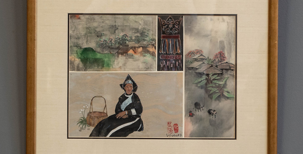 Original Vintage Chinese Watercolor
