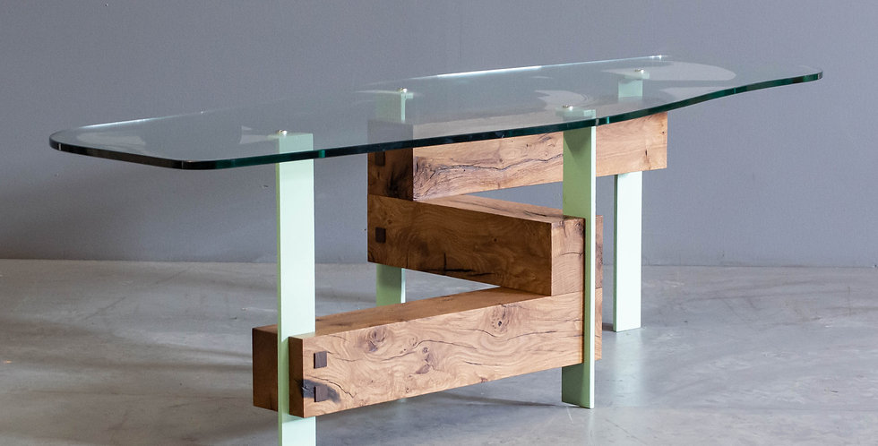 Custom Jim Guerin Oak and Metal Coffee Table