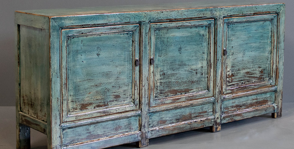 Large Blue/Green Painted Chinese Sideboard/Cabinet