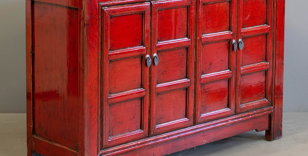 Red Lacquered Chinese Cabinet/Sideboard
