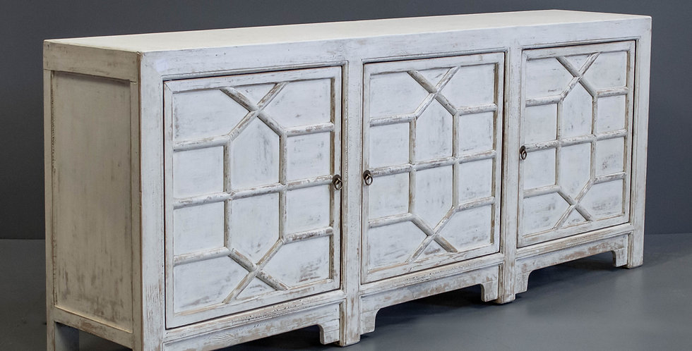 Long Chinese White Painted Sideboard/Cabinet