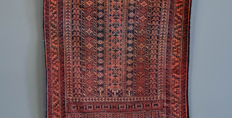 Small Hand Tied Vintage Carpet