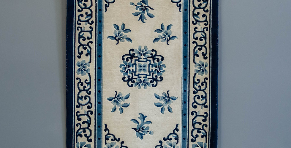 Hand Made Blue & White Chinese Area Rug