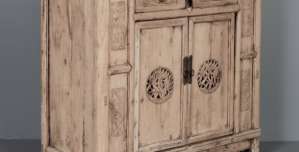 Carved Cabinet, Natural Finish