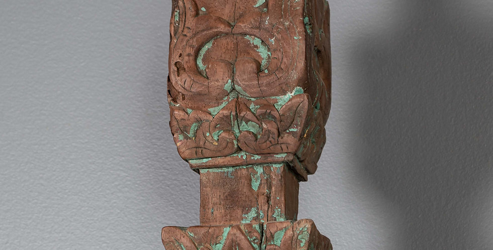 Carved Painted Teak Pillar