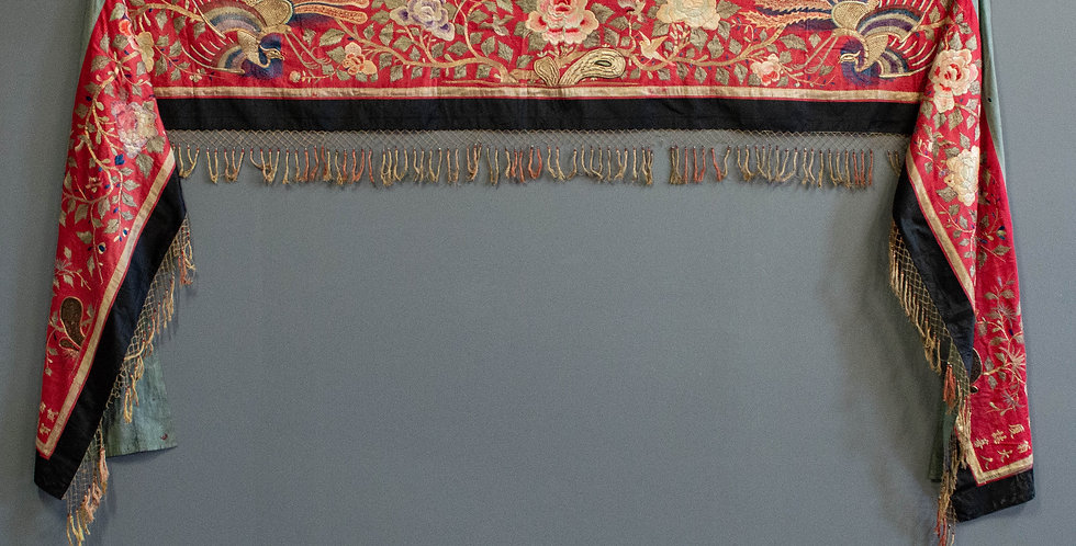 Large Antique Embroidered Runner
