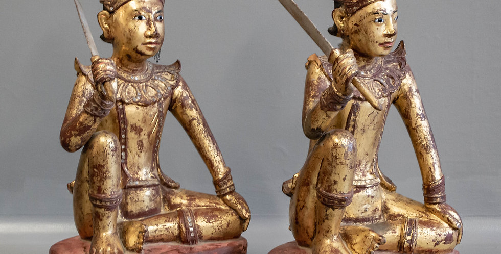 Pair of Carved and Gilded Figures (Sculpture)